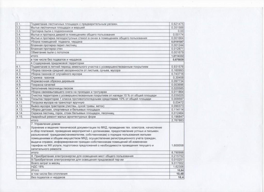Размер платы за работы и услуги по содержанию общего имущества (5-этажные дома) 3